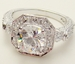Gorgeous Antique Silver Clear Cubic Zirconia Ring 6702