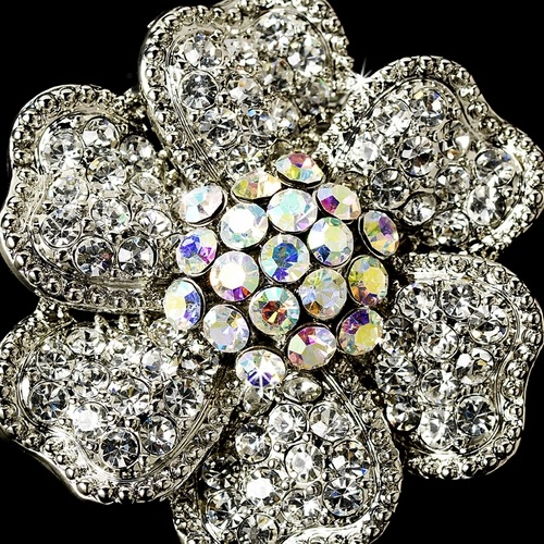 Captivating Silver Clear & AB Rhinestone Flower Stretch Ring 21