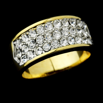 Exquisite Gold Clear Pave Crystal Band Ring 0033