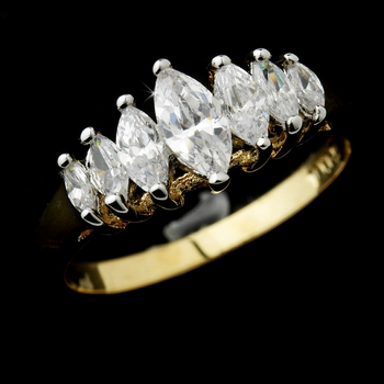 Classy Gold Clear Marquise CZ Ring 0366