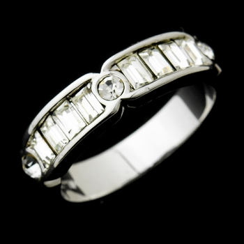 Lovely Silver Clear Crystal Band Ring 1183