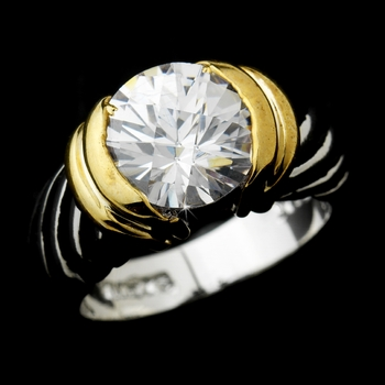 Wonderful Designer Inspired Silver Clear Round CZ Ring 1246