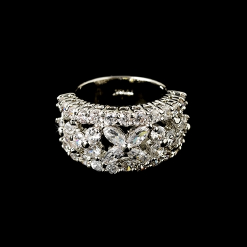 Gorgeous Silver Clear CZ Floral Ring 2010
