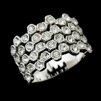 Alluring Silver Clear Crystal Band Ring 3603