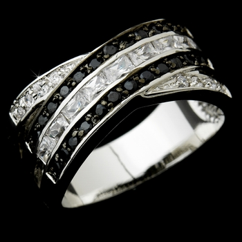 Beautiful Silver Clear & Black CZ Ring 3784
