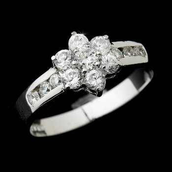 Alluring Silver Clear CZ Flower Ring 4006