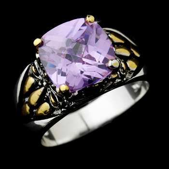 Beautiful Designer Inspired Silver Lilac CZ Ring 4115
