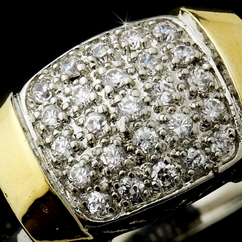 Charming Designer Inspired Silver Clear Pave CZ Ring 4240 * 4 Left *