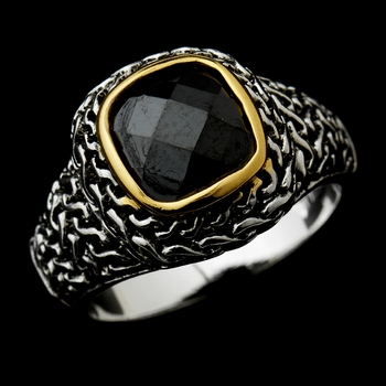 Fabulous Designer Inspired Silver Black CZ Ring 5635