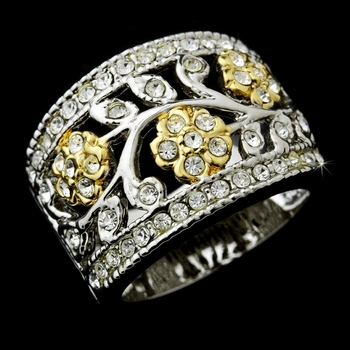 Fabulous Silver Clear Crystal Flower Ring 7022