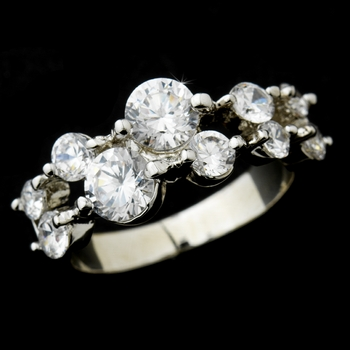 Radiant Silver Clear Round CZ Ring 9046