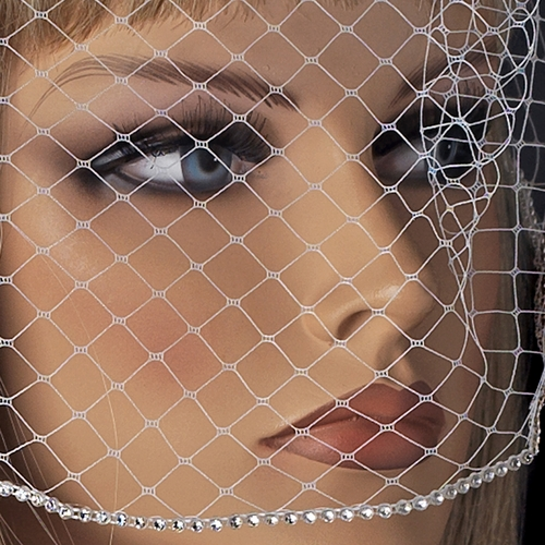 Single Layer Russian Birdcage Face Veil with Swarovski Rhinestone Edge & Attached Comb 703