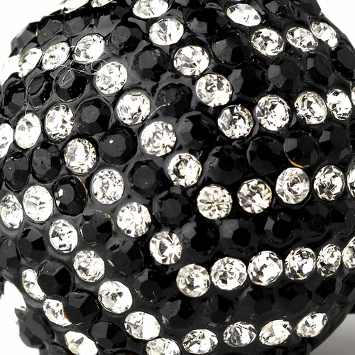 Black and  Silver Clear Pave Ball Ring 951