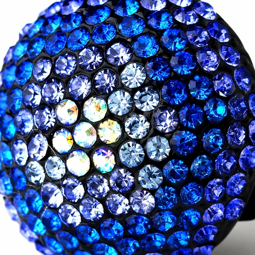 Blue Mix Pave Ball Ring 951