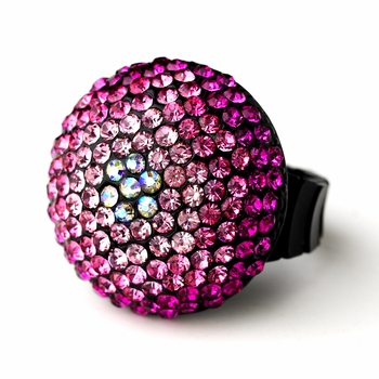 Pink Mix Pave Ball Ring 951