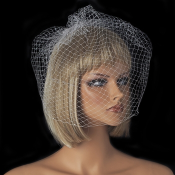 Sparkling Single Layer Russian Birdcage Face Veil with Attached Rhinestone Comb 707