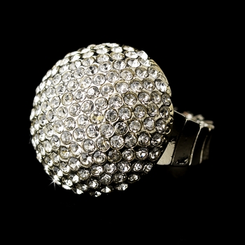 Twilight Inspired Silver Clear Pave Ball Ring 951 **Discontinued***