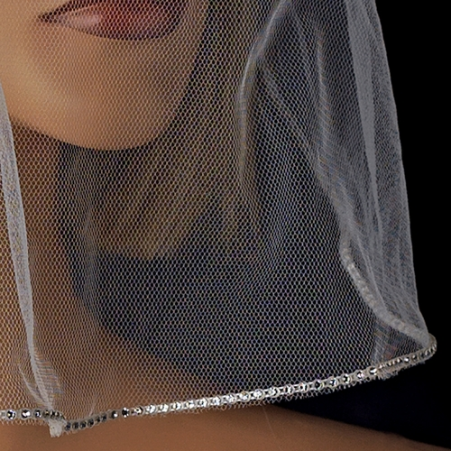 Single Layer Fine Birdcage Face Veil with Glistening Rhinestone Edge 503