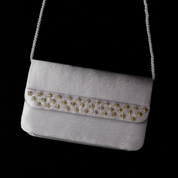 * Splendid Silver Satin Beaded Evening Bag 207