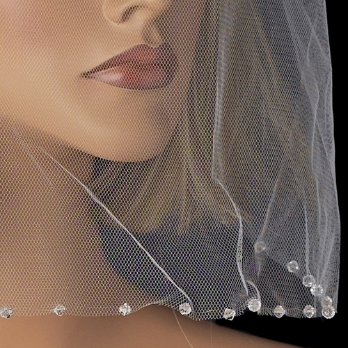 Single Layer Fine Birdcage Face Veil Blusher with Sparkling Crystal Edge 504