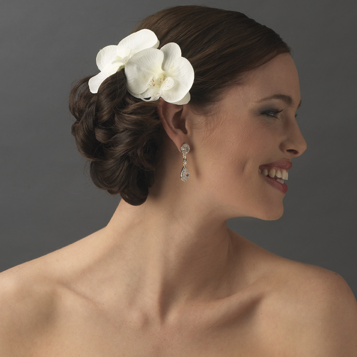 20 Wedding Hairstyles With Flowers: Natural Looking Twin Orchid Bridal Flower Hair Clip