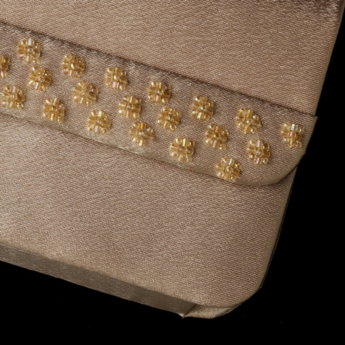* Splendid Champagne Satin Beaded Evening Bag 207