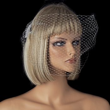 Fine Single Layer Birdcage Face Veil with Side Comb in White or Ivory 1893