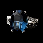 Blue Sapphire in Silver Clear Setting Ring 9186