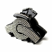 Exquisite Black Hair Clip w/ Smoked Grey Rhinestones 468