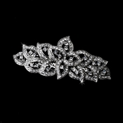 Rhodium Silver Clear Rhinestone Swirl Barrette 250***Discontinued***