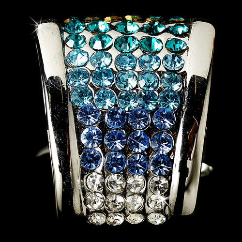 Modern Silver Clear & Multi Blue Rhinestone Ring 2031  ** Discontinued **