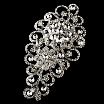 * Antique Silver Clear Rhinestone Floral Brooch 404