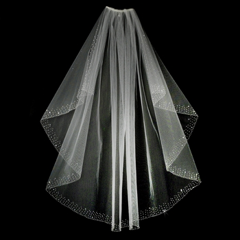 """Veil 520 White - Scattered beads, crystals & pearls. 36"""" long x 72"""" wide-"""