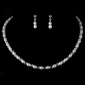 Precious Children's Silver White Pearl & AB Crystal Bead Necklace & Earring Set 8443