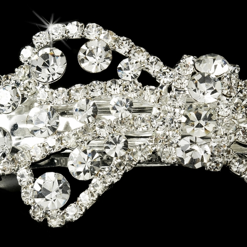 Rhinestone Bow Hair Barrette 1338 Silver Clear