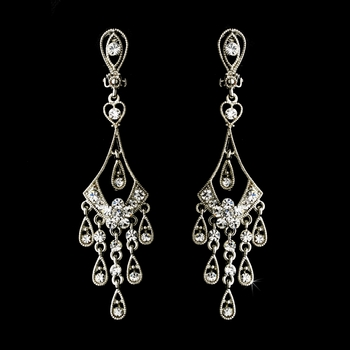Vintage Rhinestone Clip On Bridal Earring E 8417