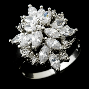 Extraordinary Silver Clear Marquise CZ Cluster Ring 6605
