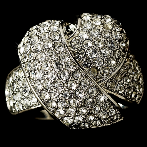 Marvelous Silver Clear Rhinestone Knot Ring 2030