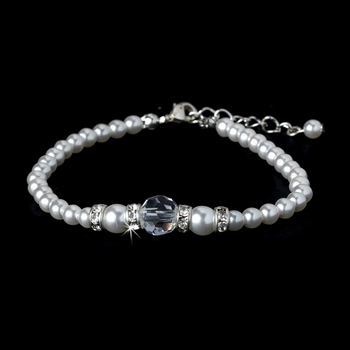 White Silver with Clear Crystal Bracelet 8368