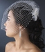 Delightful White Flower Bridal Comb w/ Soft Feathers & Silver Clear Rhinestones 8269