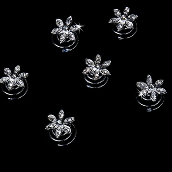 24 Lovely Silver Clear Rhinestone Flower Twist-Ins 0087
