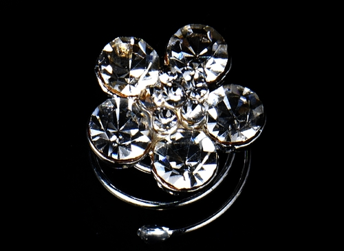 12 Silver Clear Rhinestone Flower Twist-Ins 0003