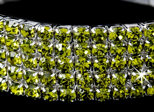* Fabulous Silver 5 Row Green Rhinestone Stretch Bracelet 8015
