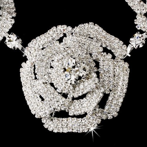 * Silver Clear Necklace Earring Set 6514