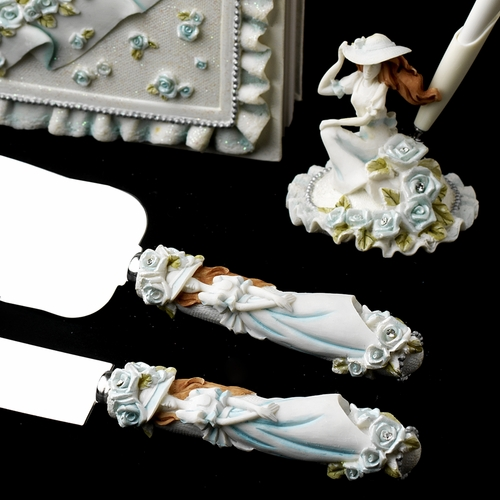 Blue 'Sweet 15' Girl Matching Guest Book Pen Flute & Cake Server Set 100