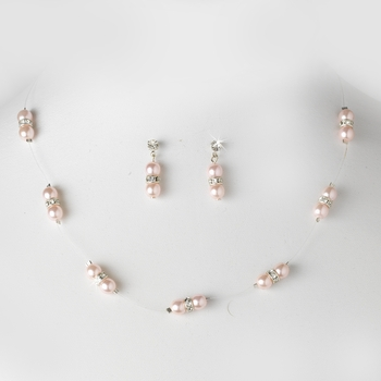 Necklace Earring Set 206 Blush Pink