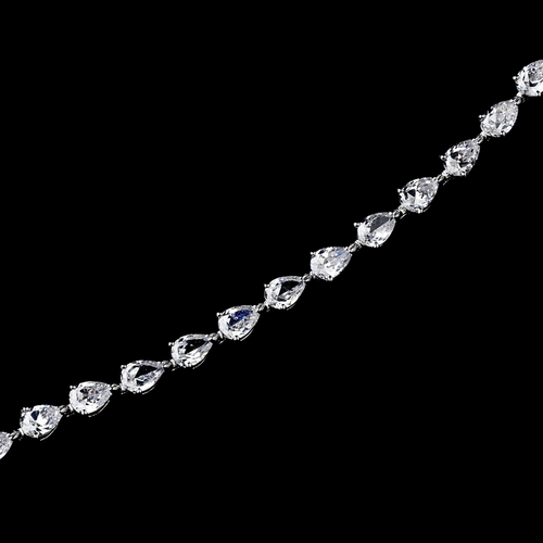Silver Cubic Zirconia Teardrop Pear Shaped Bracelet 2398