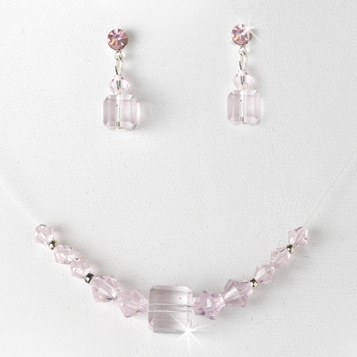 Necklace Earring Set 233 Pink