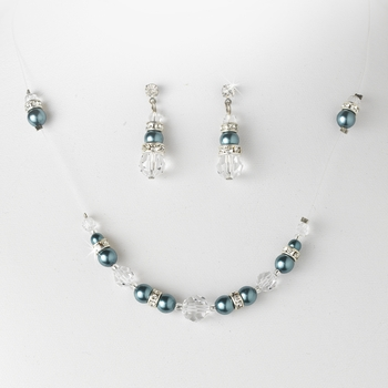 * Necklace Earring Set NE 230 Teal Clear