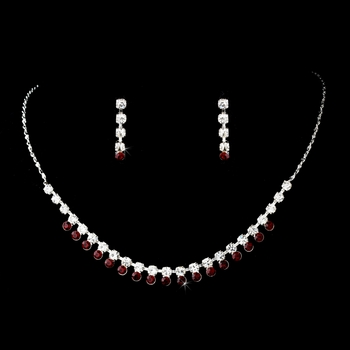 Necklace Earring Set 3106 Silver Burgundy